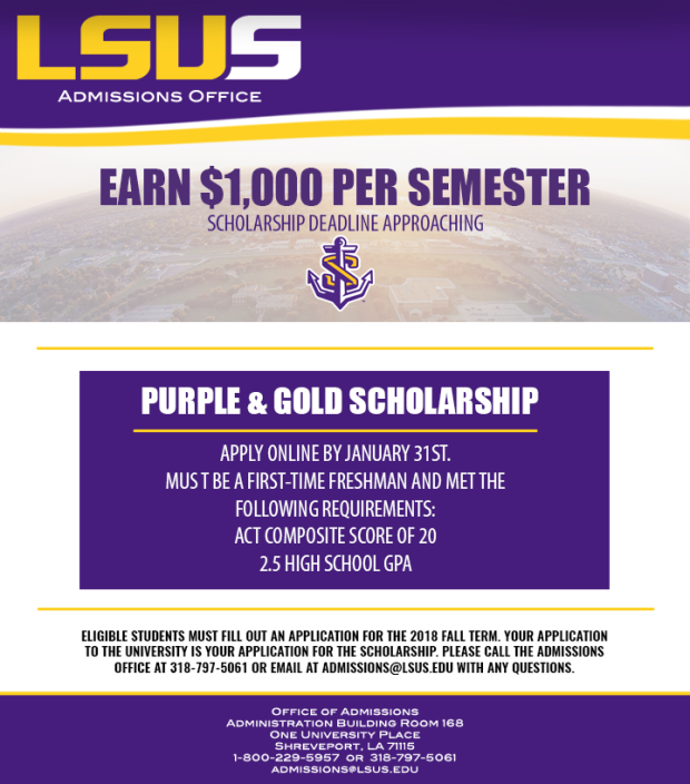 Email Graphic for Purple and Gold Scholarship Deadline